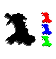 3d map of wales vector image