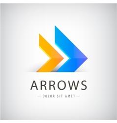Abstract 2 arrows colorful icon logo design vector