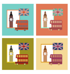 Assembly flat icons united kingdom set vector