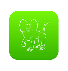 baboon icon green vector image