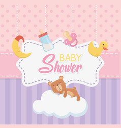 bashower card with little bear teddy and vector image