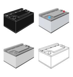 Battery car single icon in cartoonoutlineblack vector