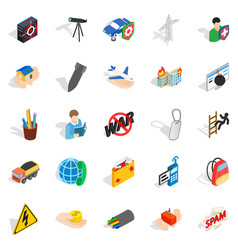 Big city life icons set isometric style vector