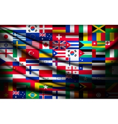 Big flag background made world country flags vector