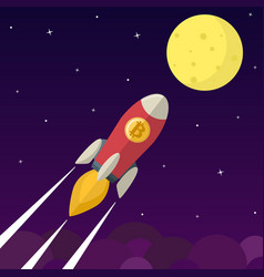 Bitcoin icon rocket vector