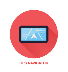 Black gps navigator with street map flat style vector