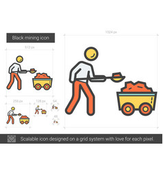 Black mining line icon vector