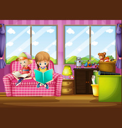 Boy and girl reading book on sofa vector