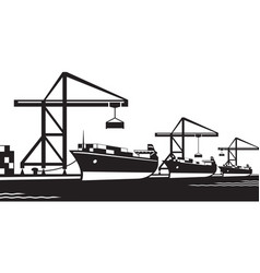 Cargo ships at industrial port vector
