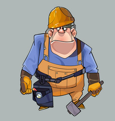Cartoon big man in helmet and working clothes vector