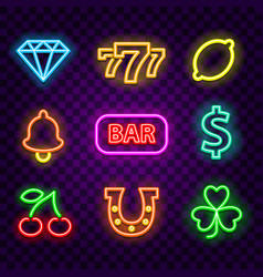 casino neon signs on dark background vector image