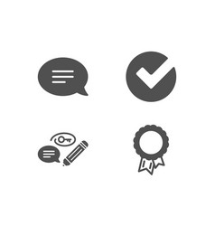 Chat keywords and verify icons success sign vector