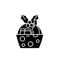 christmas gift basket black icon sign on vector image