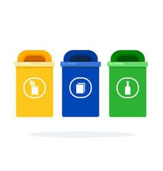 city bins for trash sorting flat isolated vector image