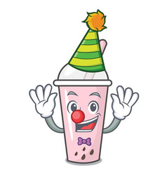 Clown raspberry bubble tea character cartoon vector