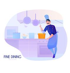 cook cartoon composition vector image