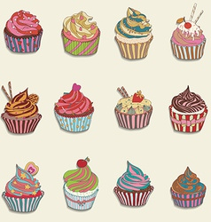Cupcake colorful icon vector image