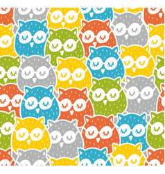 cute colorful owls seamless pattern vector image