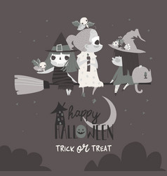 cute halloween witches flying on broom vector image