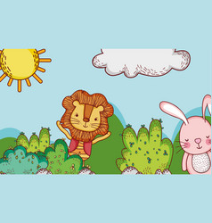 cute lion and bunny in forest doodle cartoons vector image
