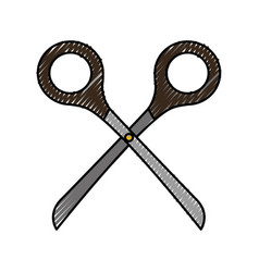 Cute scribble scissors cartoon vector