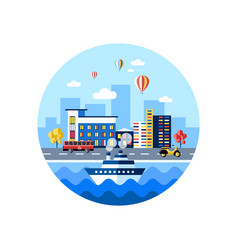 digital blue city transport icons vector image