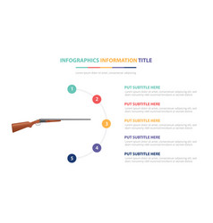 Double barrel riffle infographic template concept vector