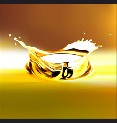 Eps 10 gold olive or engine oil splash 3d vector