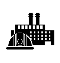 factory and helmet icon vector image