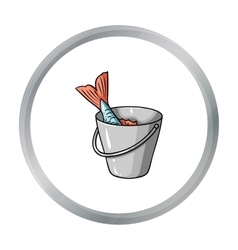 Fish in bucket icon in cartoon style isolated vector