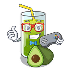 gamer avocado smoothies are isolated on characters vector image