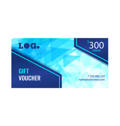gift voucher bright design with light blue vector image