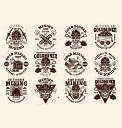 Gold mining industry set vintage emblems vector