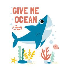 Hand drawing shark print design vector