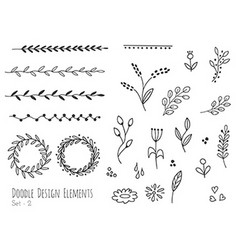 Hand drawn isolated doodle design elements vector image