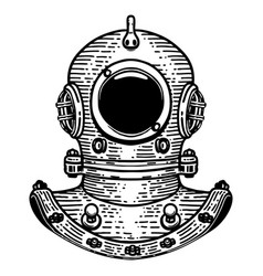 Hand drawn retro style diver helmet on white vector