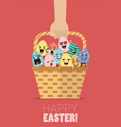 hand holding wicker basket with easter eggs vector image