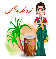 Happy lohri greeting card with beautiful girl vector