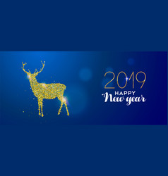 happy new year 2019 gold glitter deer holiday card vector image
