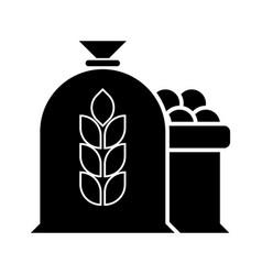 harvest wheat apple bag icon vector image
