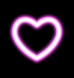 heart contour neon or pink glow radiant effect of vector image