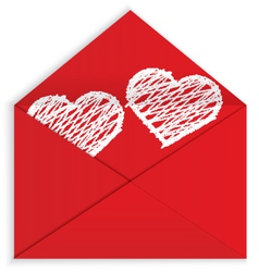 Heart white crayon inside envelope vector image
