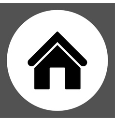 Home flat black and white colors round button vector
