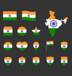 india flag icons set symbols flag of vector image