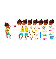 indian girl school kid animation creation vector image