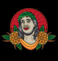 jesus christ traditional tattoo vector image