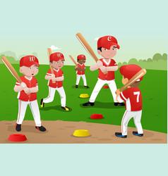 kids in baseball practice vector image