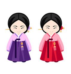 korean girls in hanbok vector image