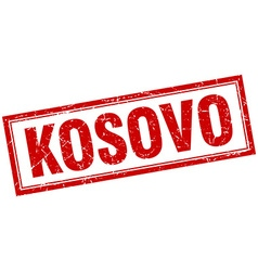 Kosovo red square grunge stamp on white vector