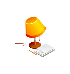 lamp and book pencil isolated vector image